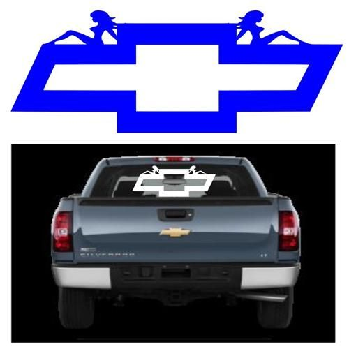 Chevrolet Logo With Mudflap Girls Car Decal X For Cars - Chevy decals for trucks