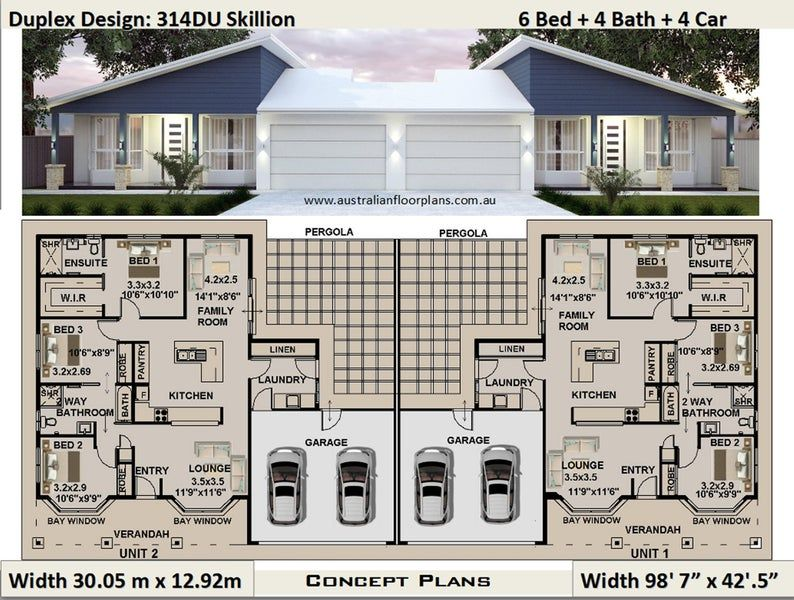 369 2m2 Or 3974 Sq Foot 6 Bedrooms 4 Bathrooms Duplex Etsy In 2021 Duplex Design Family House Plans Courtyard House Plans