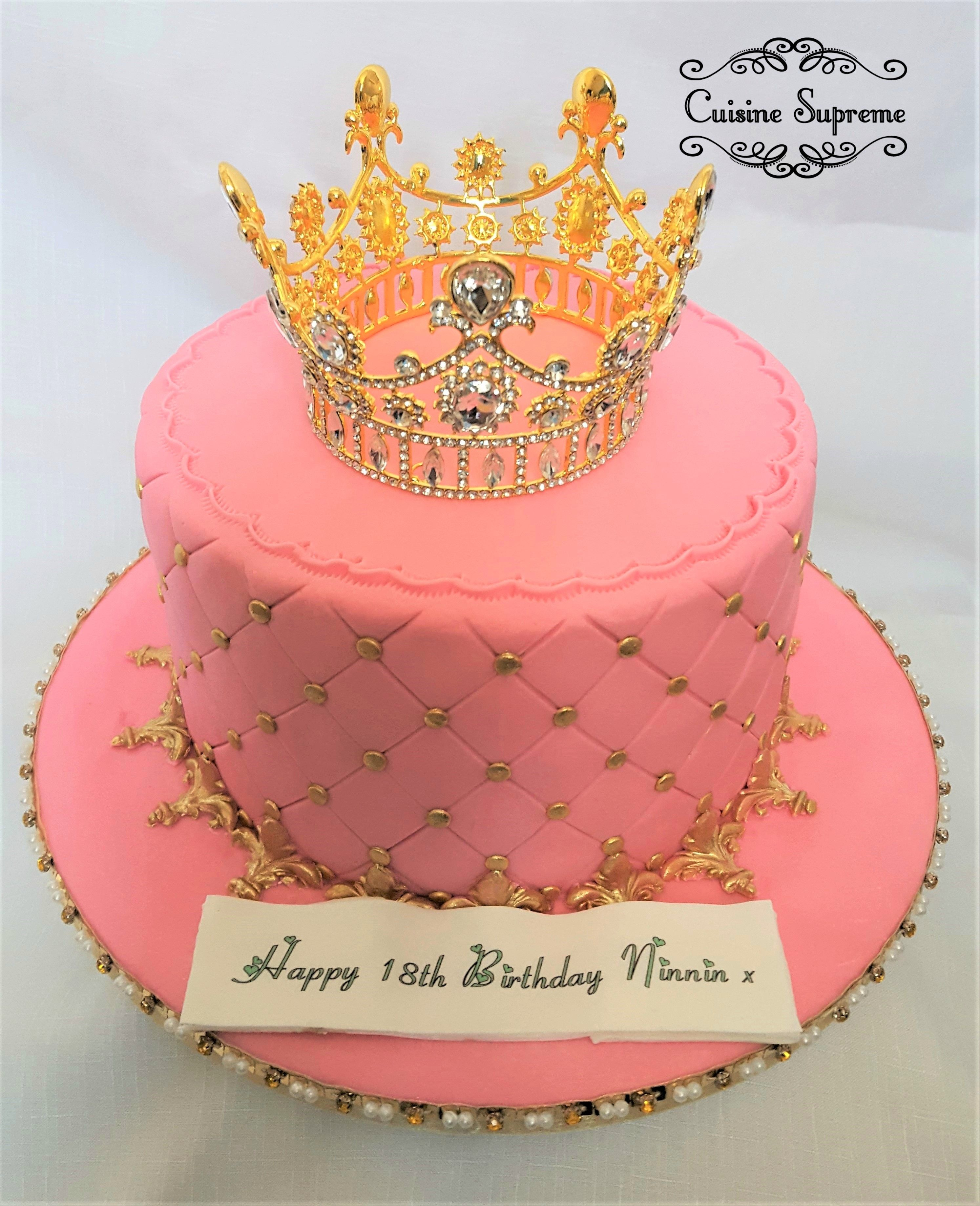 Incredible 18Th Birthday Sponge Cake With Diamante Crown With Images Funny Birthday Cards Online Alyptdamsfinfo