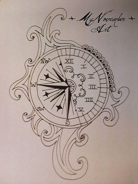 Compass Clock Tattoo Cooltatz Picture Tattoos Clock Tattoo Clock Tattoo Design