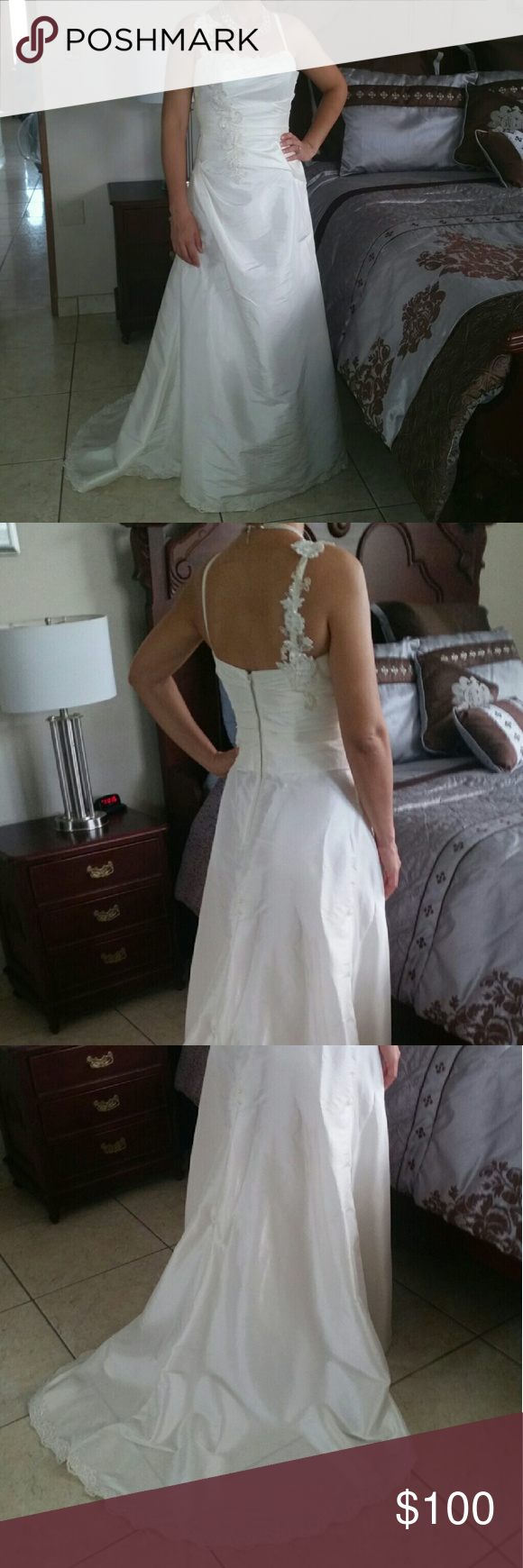 "David's Bridal wedding dress Wedding dress. Size 6. Color Ivory. Measures line flat: shoulder to hem 59""...waist 15"".  Shell: 59% polyester & 41 nylon...Lining 100% polyester....Netting: 100% nylon. Worn once. Perfect condition. David's Bridal Dresses Wedding"