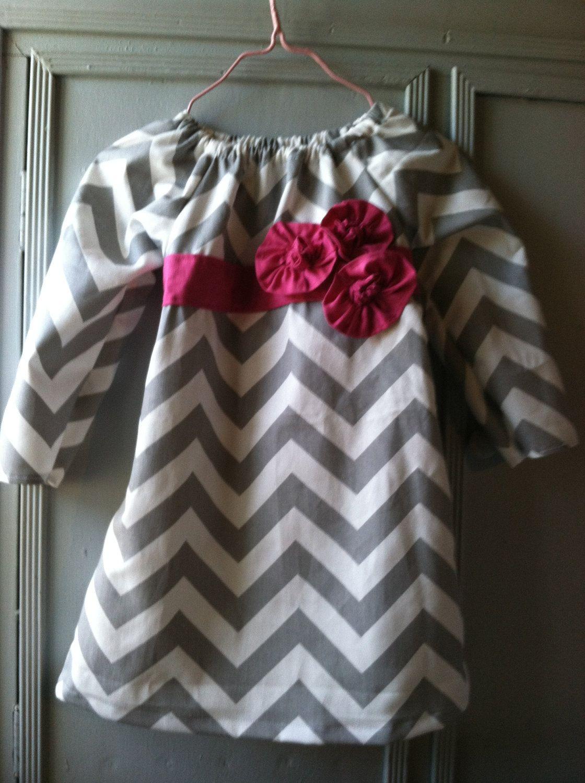 Custom 6 - 18 Month Gray Chevron Tunic Dress. $27.50, via Etsy.