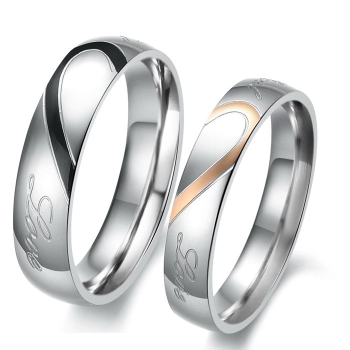 Matching Titanium Men and Womens Couples Heart Wedding Rings with