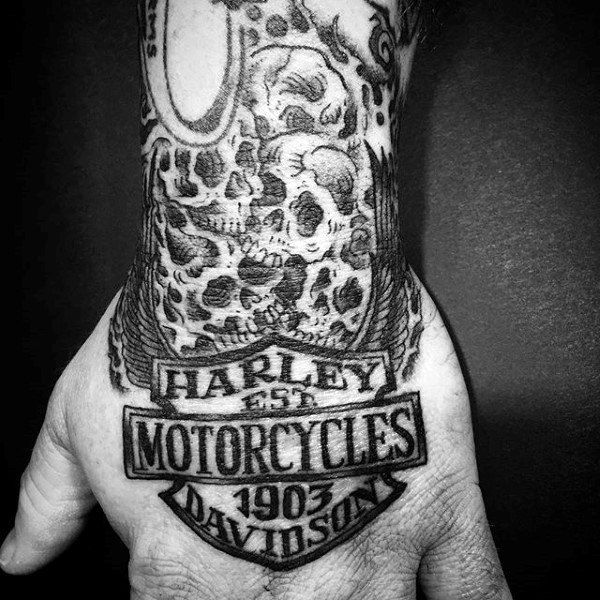 Manly Black Ink Harley Davidson Skull Tattoo Designs On Hand And Wrist For Men Harley Davidson Tattoos Harley Tattoos Tattoos For Guys