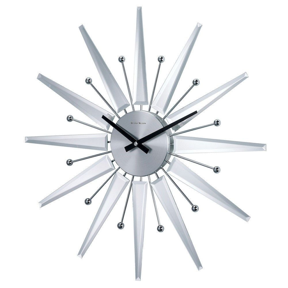 George Nelson Midcentury Modern Style Mirrored Starburst Clock