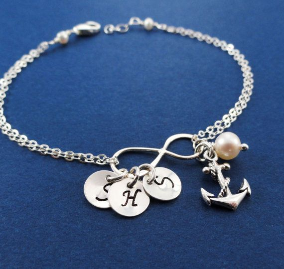 Personalized Infinity Bracelet With Anchor Charm By Briguyss 41 00