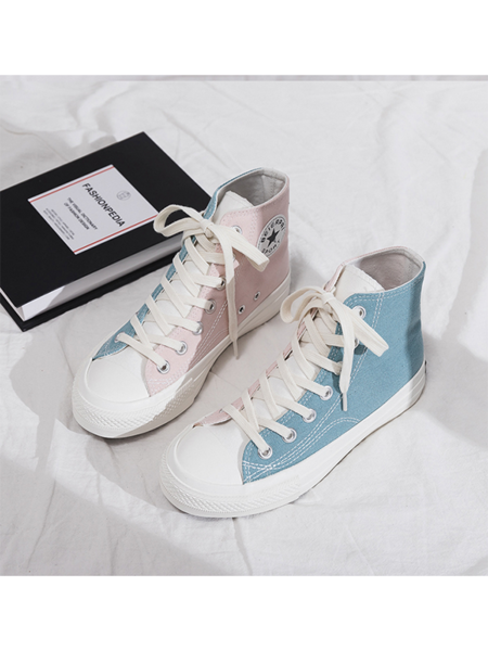 Color Block High Top Canvas Shoes in 2020 | Hype shoes