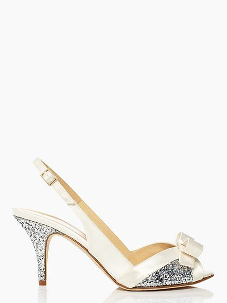 Glittery Sweet Heels: Peep toe front bow ivory satin, silver glitter covered sides and heel sandal by Kate Spade New York. #sandals