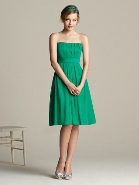 For Shannon to review - a more universally flattering silhouette. A-line-Strapless-Knee-length-Chiffon-Bridesmaid-Dress-klb0008.jpg (450×600)