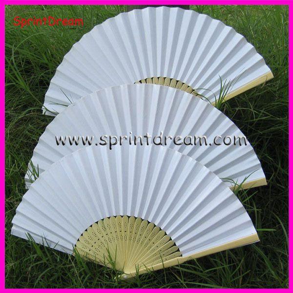 50pcs lot free shipping white paper fan wedding fan fan