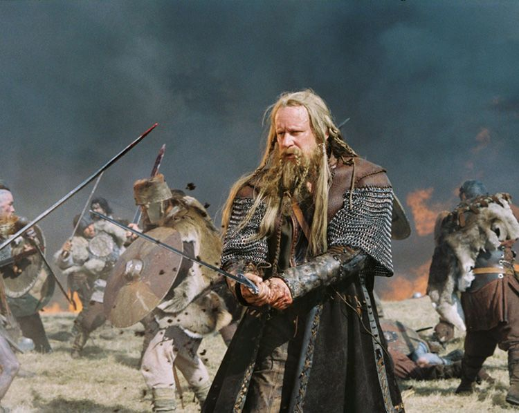 "Stellan Skarsgård (father of Gustaf ""Floki"" Skarsgård, actually) as Cedric in ""King Arthur"". Sporting some interesting braided beard and hair."
