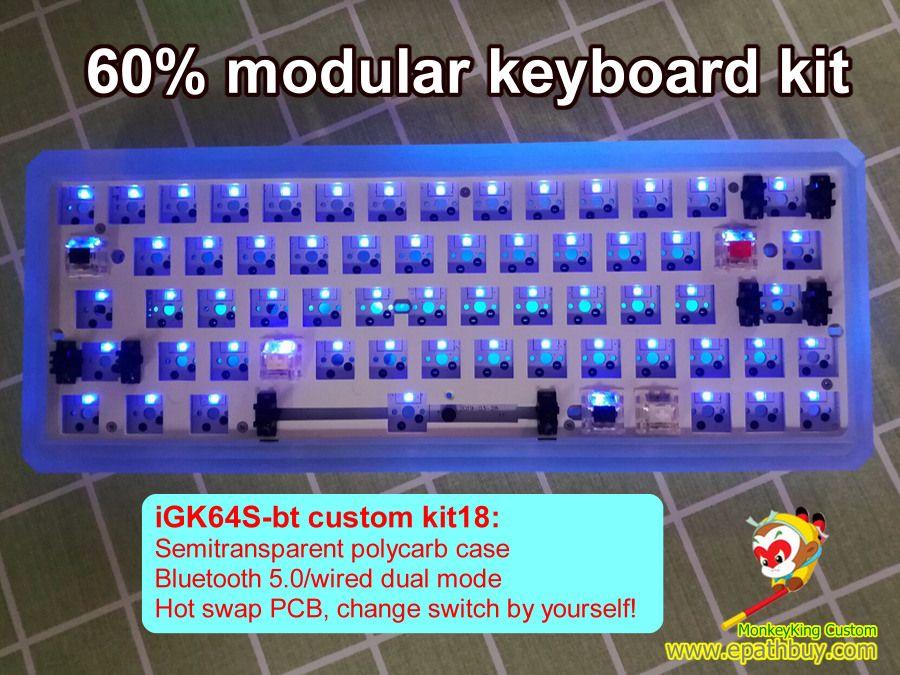 Gk64s Wireless Modular Keyboard Kit Built In 2019 Arris Semitransparent Polycarb Case Igk64s Bt Kit18 Custom Mechanical Keyboards Shop Online Store Group B Pc Keyboard Keyboard Case Custom