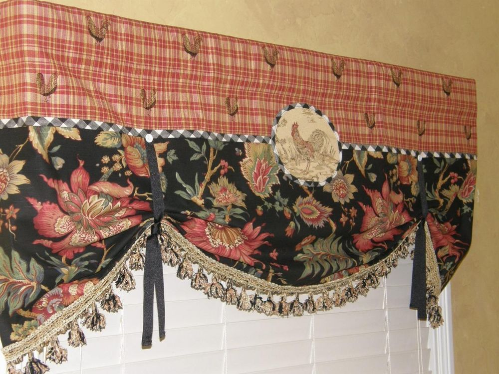 French Country Waverly Rooster Red Plaid Black Jacobean Balloon Valance Tassels Kitchens Curtains
