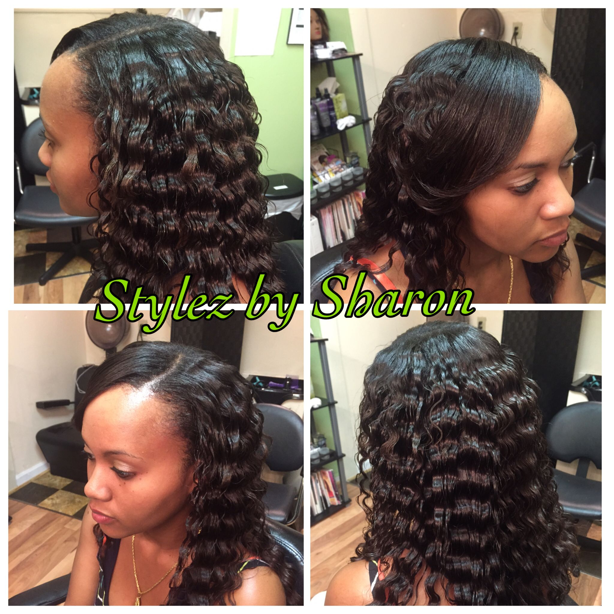partial sew in with crinkle curls | stylez by sharon | hair