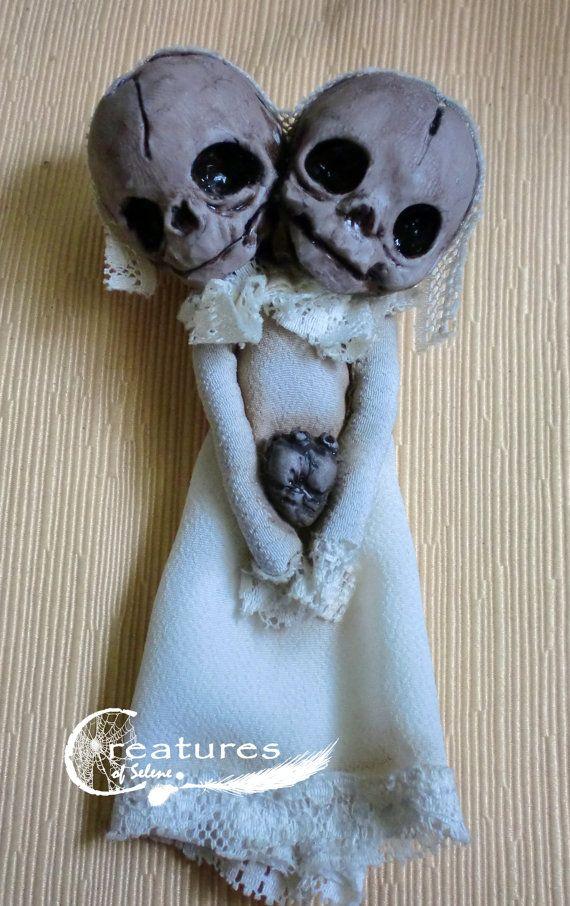 Brooch skeleton baby doll siamese by Creaturesofselene on Etsy