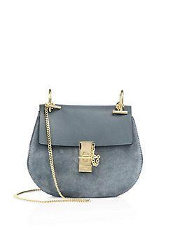 Chloé - Drew Small Suede & Leather Saddle Crossbody Bag