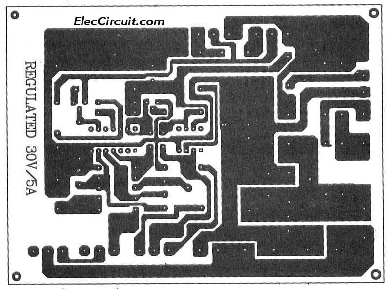 0 30v 0 5a Regulated Variable Power Supply Circuit Eleccircuit Com Power Supply Circuit Power Supply Voltage Regulator