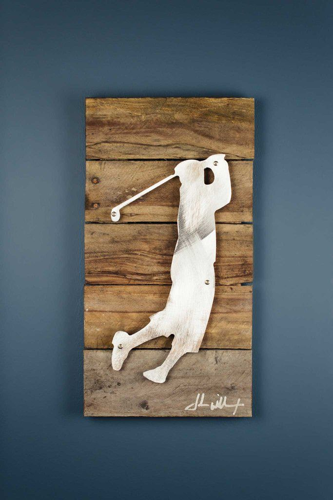 Shop this unique golf legends reclaimed wood shaped metal art perfect for any gift occasion