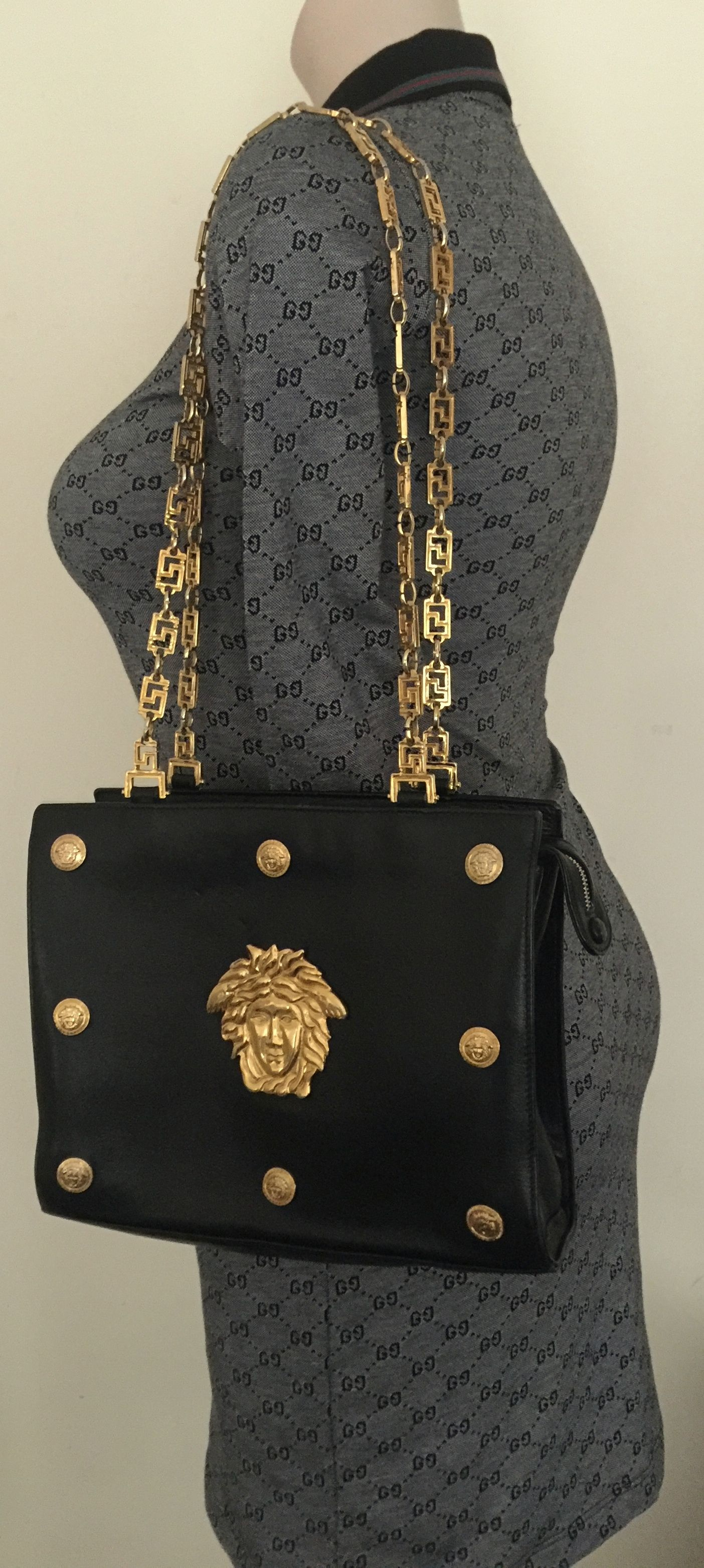 90s Gianni Versace Large Medusa Chain Strap Shoulder Bag Rare Gianni Versace Shoulder Bag Bags