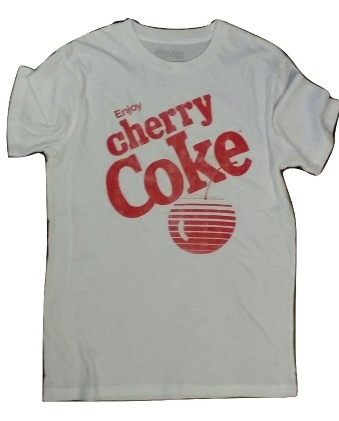 62a69ada68328  7.99 SALE Mens Vintage Cherry Coke Soft Cotton Printed White T-shirt size  Small