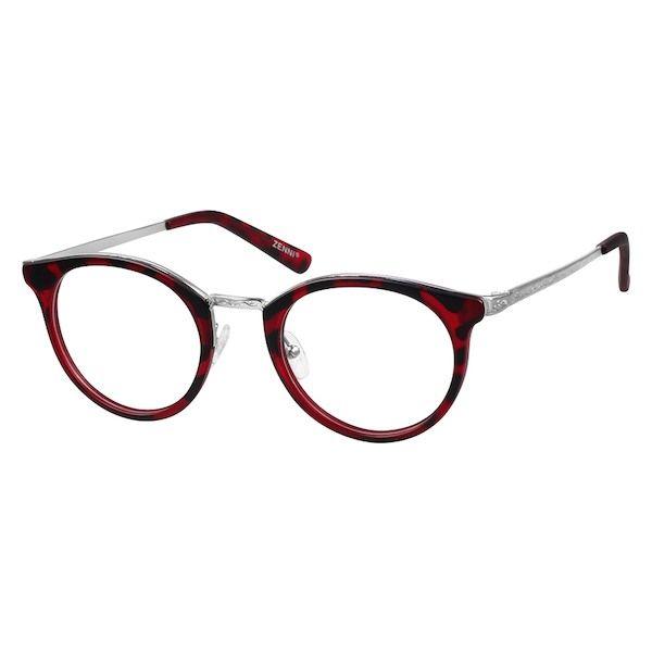 73fd19ea566 Zenni Womens Round Prescription Eyeglasses Red Tortoiseshell Mixed  Materials 788618