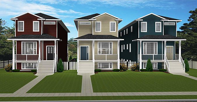 Narrow lot duplex plan 2012658 front Narrow lot duplex