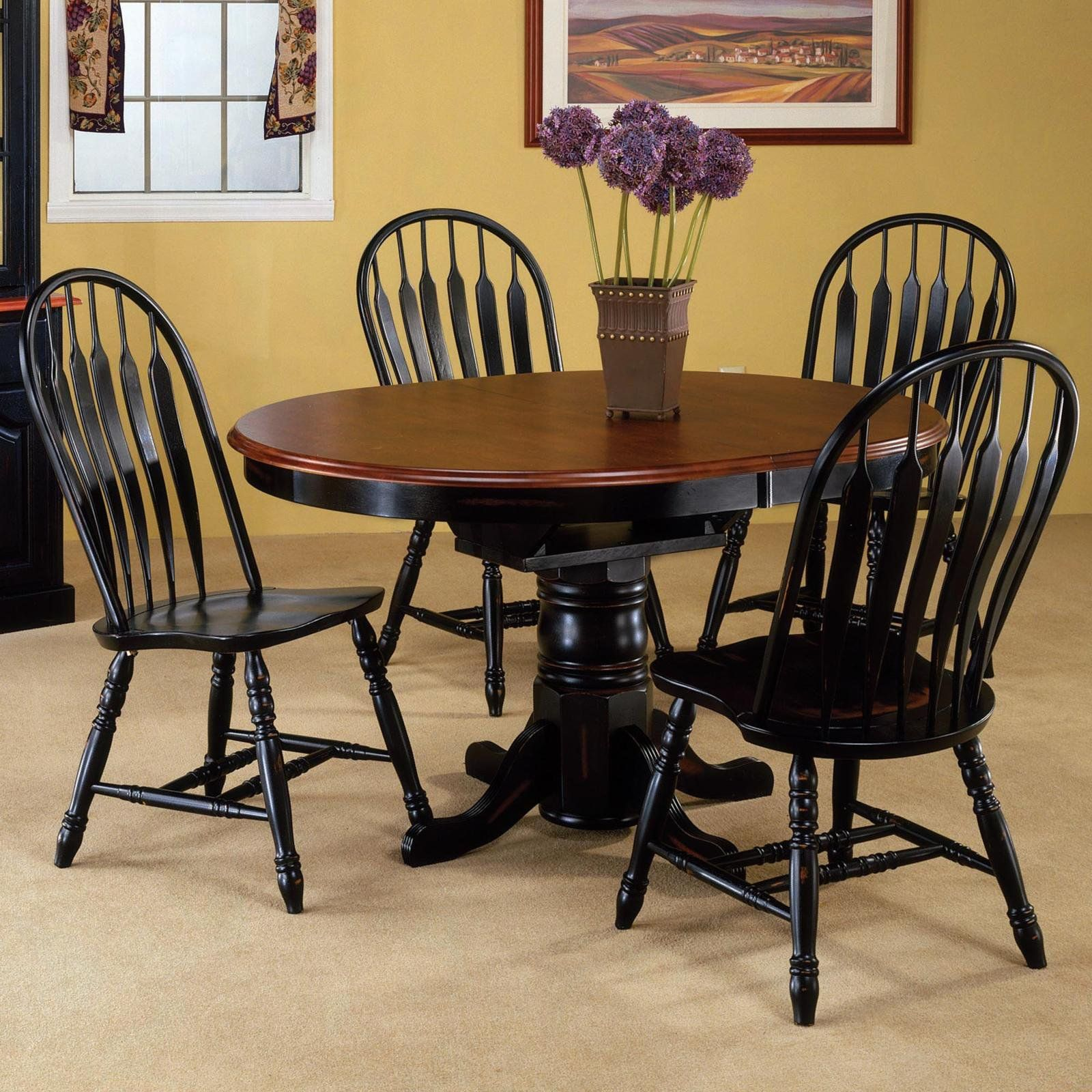 Round Dining Table Set With Leaf Extension What Is It And How It Is Used In 2020 Kitchen Table Settings Oval Kitchen Table Black Round Dining Table