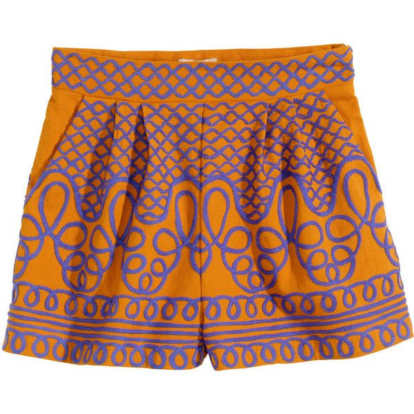 80ab8f20a4e H&M Embroidered shorts ($47) ❤ liked on Polyvore featuring shorts ...