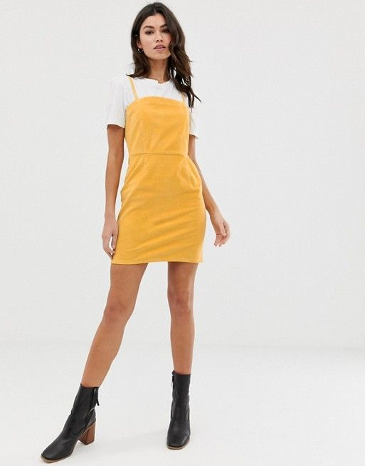 8fc30bed DESIGN cord dress with skinny straps in mustard in 2019 | clothes ...