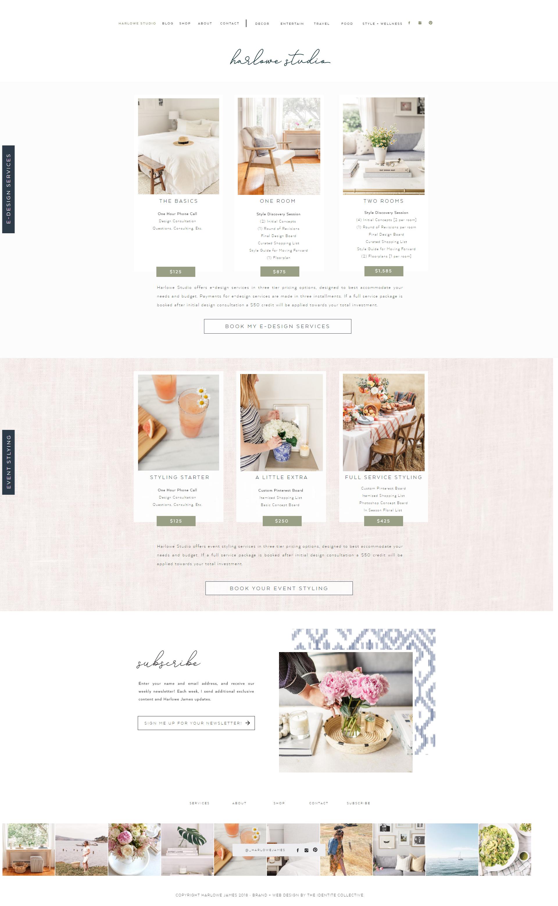 The Identite Collective Branding Web Design And Content Creation For Interior Des Beautiful Website Design Restaurant Website Design Feminine Website Design