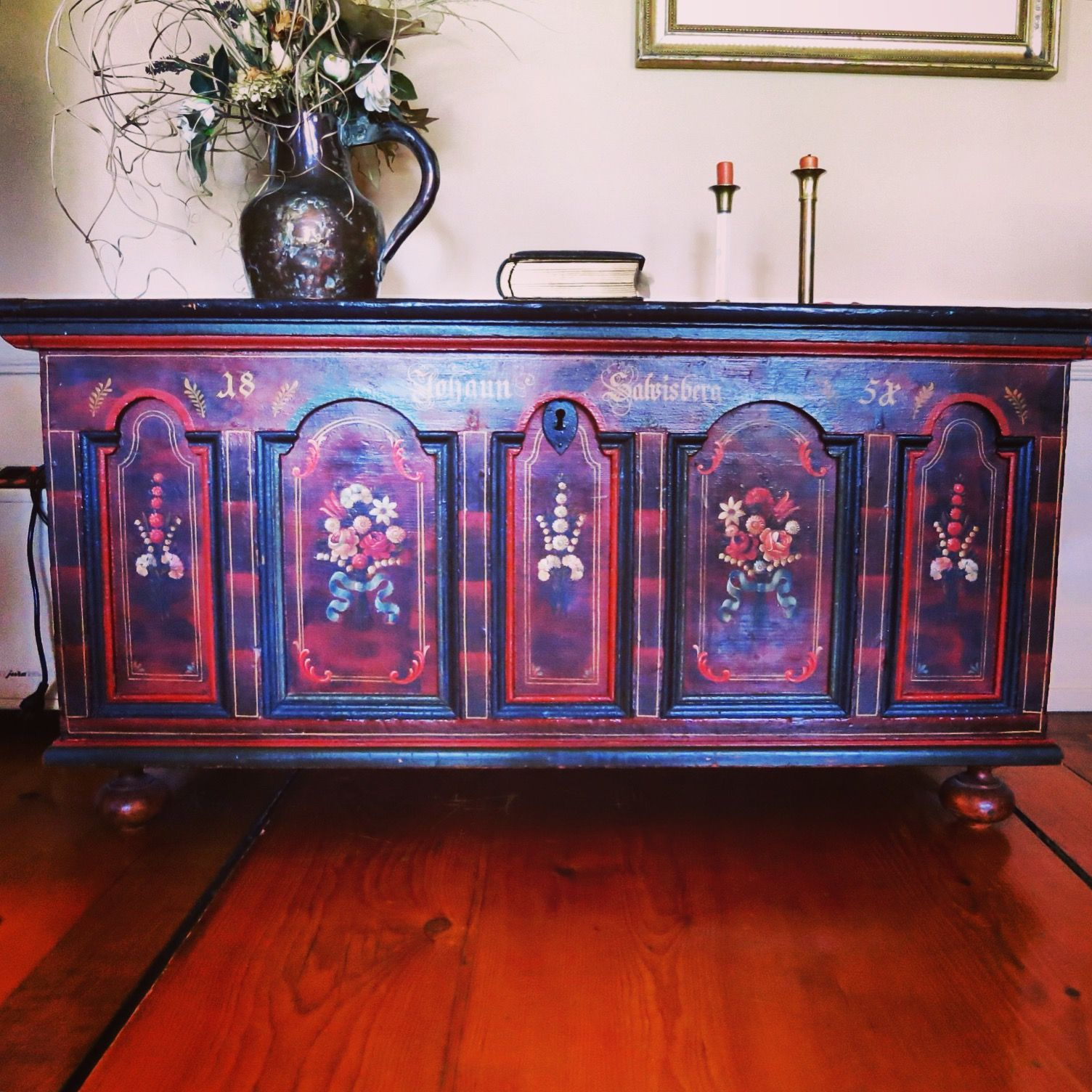 Hand painted chest from Switzerland Hand painted