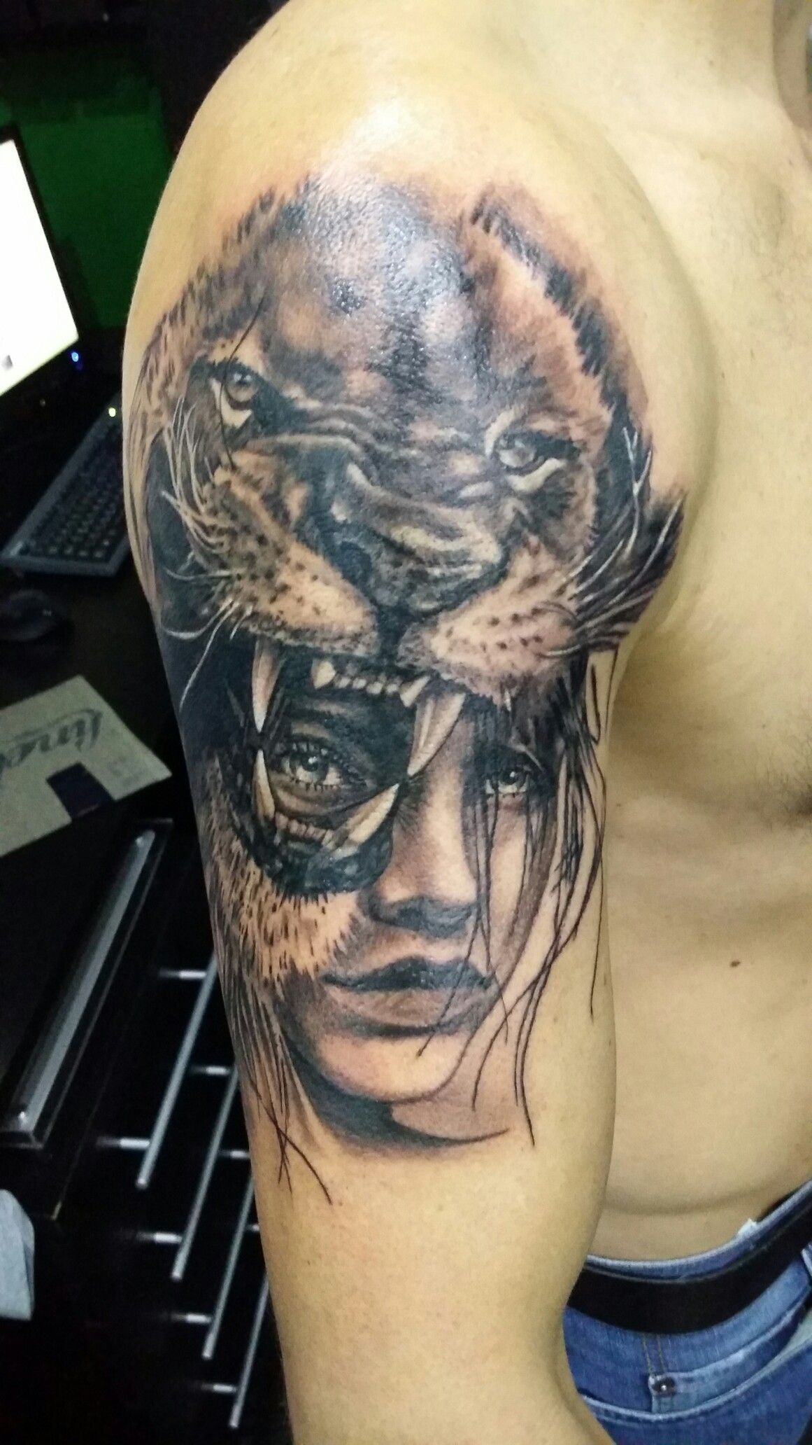 Lion tattoo, Indian woman with lion, black & gray tattoo