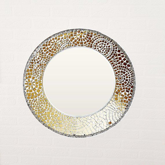 Round Mosaic Mirror 15 Small Wall Mirror Mosaic Frame Mirror Made To Order Encadrement