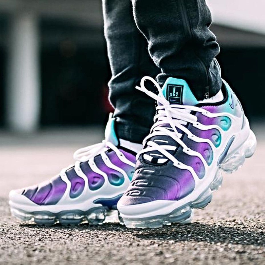 Nike Air Vapormax Plus Grape Aqua White Fierce Purple Men S Size 7 12 Tn Atmos Nike Athleticsneakers Sneakers Men Fashion Sneakers Fashion Sneakers