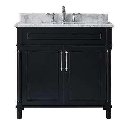 Aberdeen 36 In W X 22 In D Vanity In Black With Carrara Marble Top With White Sink White Sink Vanity Marble Bathroom