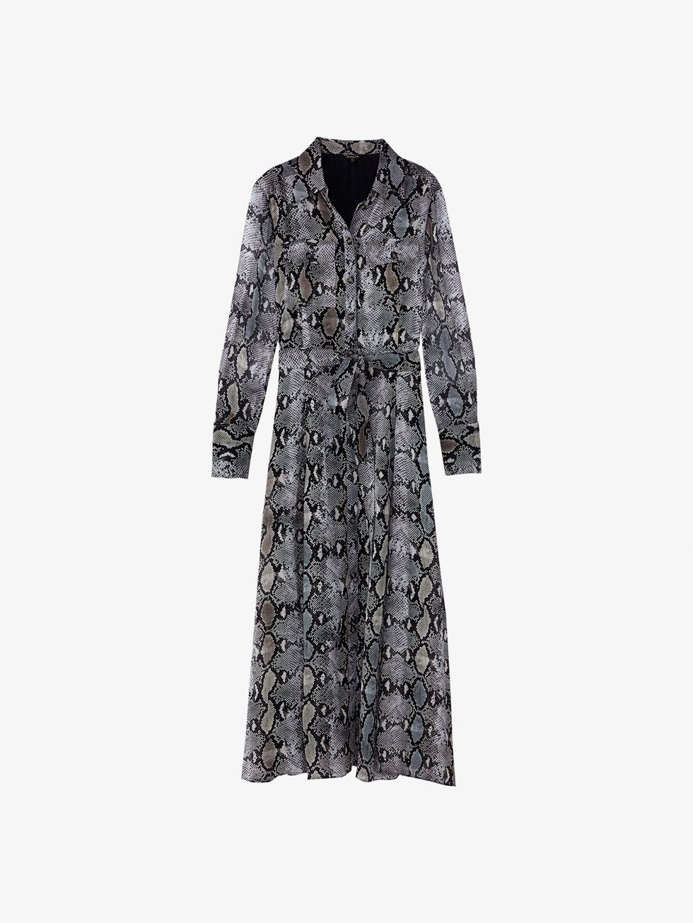 d330ac3a5e Snakeskin print dress with tie belt | Massimo Dutti | Dresses, Belt ...
