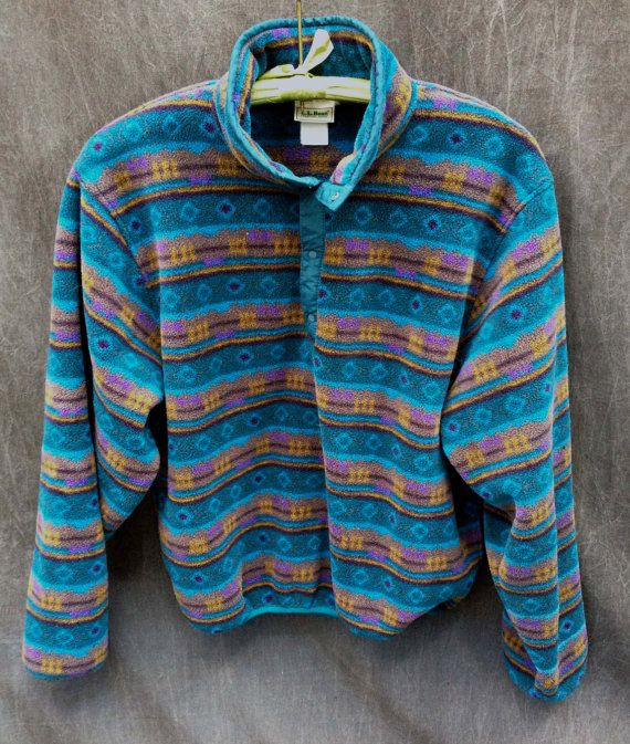80's LL Bean Fleece Pullover // Aqua Tribal by ElkHugsVintage ...
