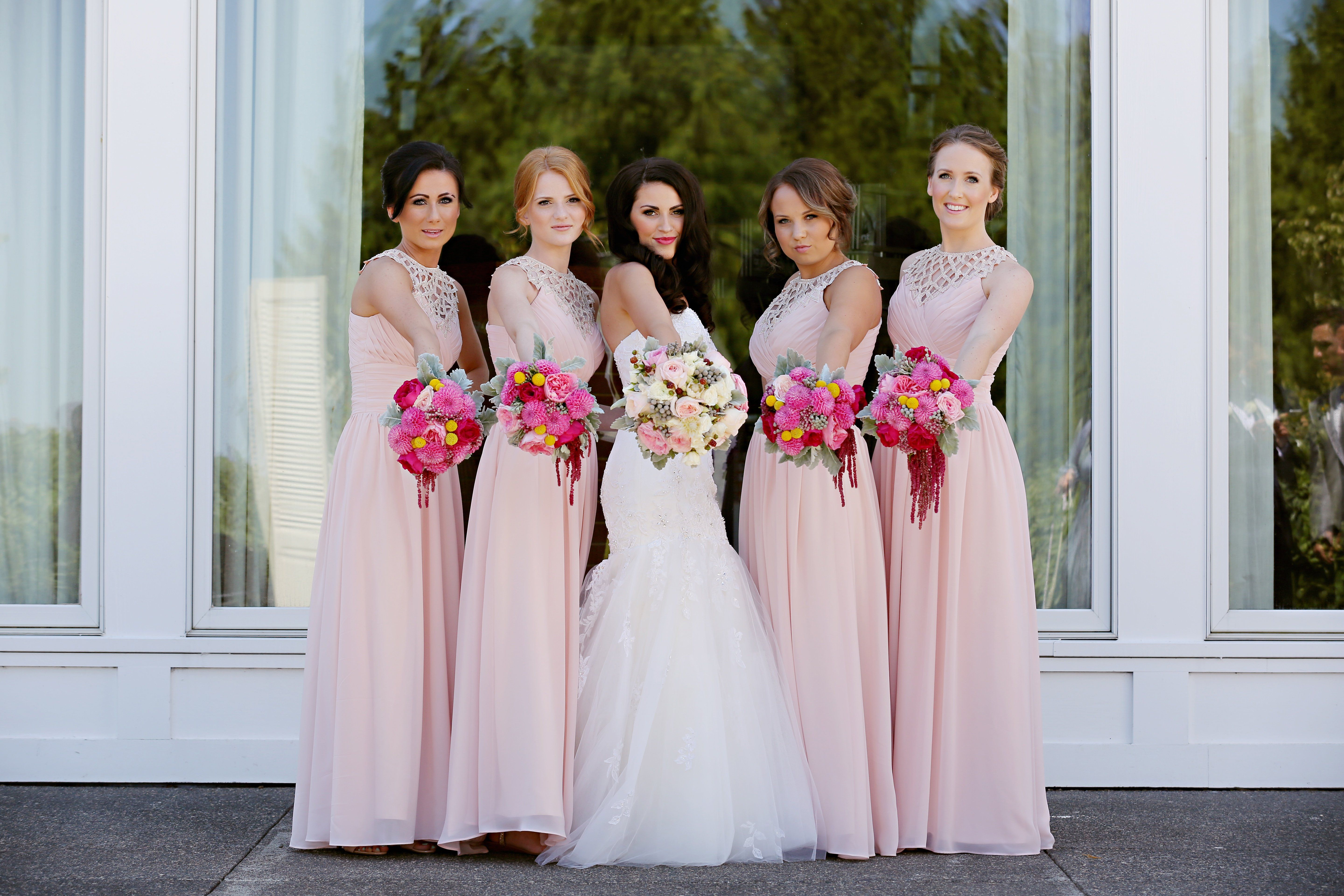Fabulous pink bridesmaid dresses special day pinterest long blush pink long chiffon a line formal cheap wedding party bridesmaid dresses ombrellifo Gallery