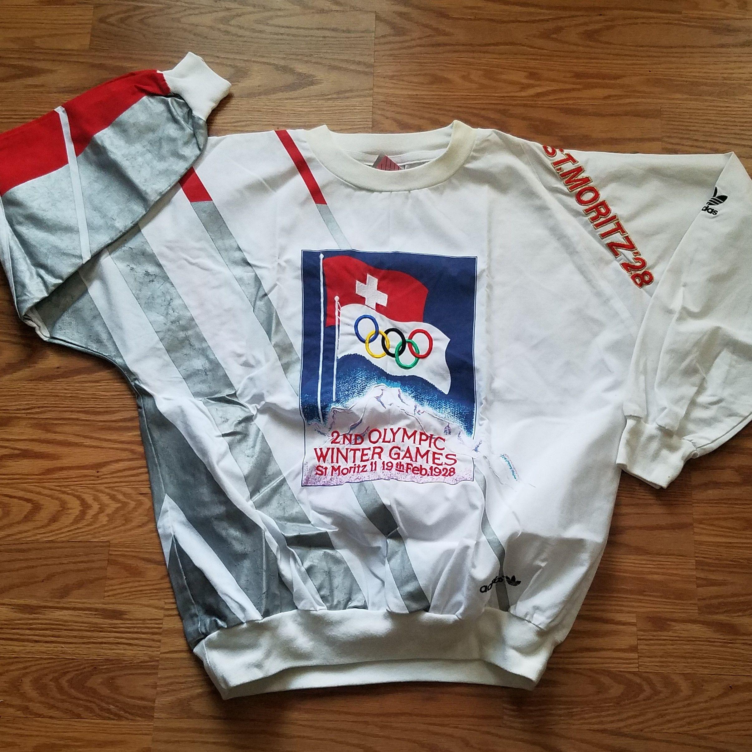 Vintage adidas dei giochi olimpici invernali moritz crewneck felpa