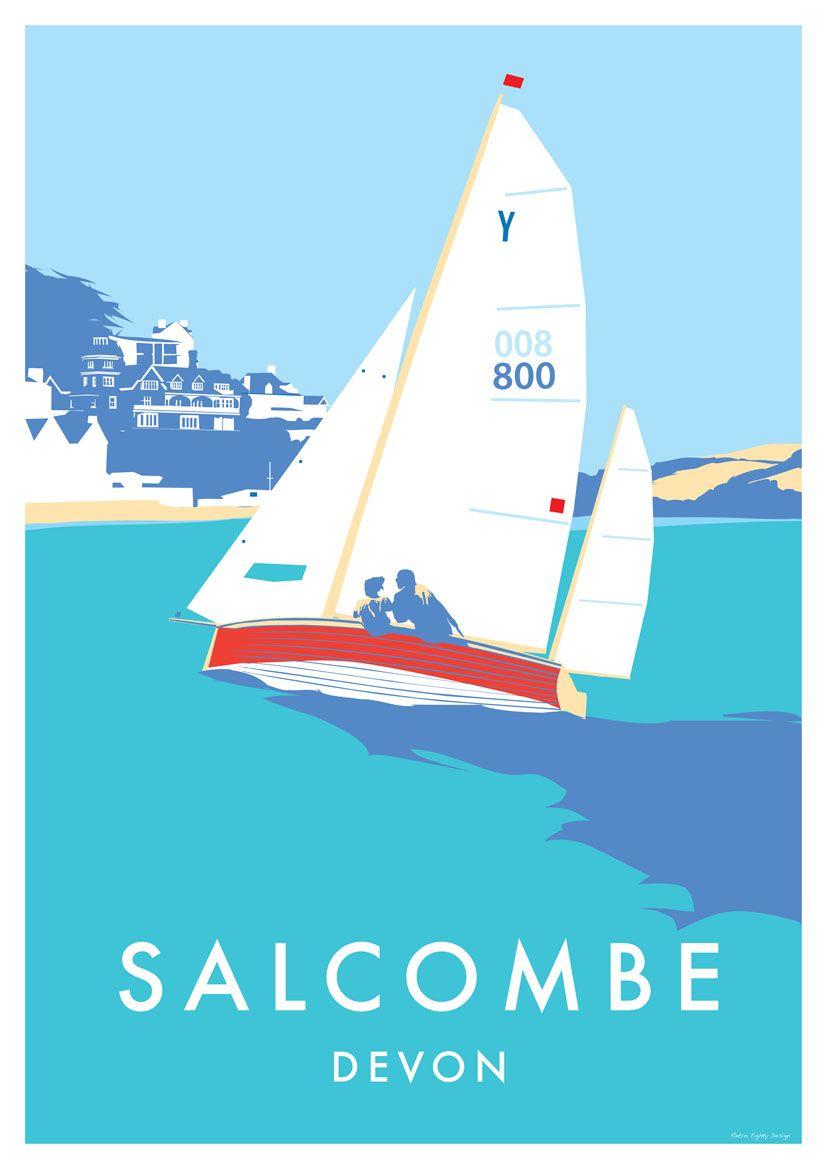 Boat illustration sailing art vintage travel