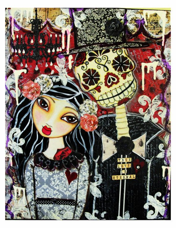 True Love Is Eternal Day Of The Dead Couple Fine Art Print Mixed Media Painting 1800 Via Etsy