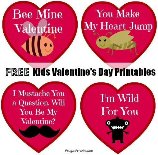Free Kids Valentines Day Cards Printables  Cards and Free