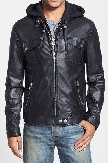 Mens Hooded Leather Jacket Men Black Biker Leather Jacket Men Fashion Jackets In 2020 Leather Jacket Men Style Leather Jacket Men Jackets Men Fashion