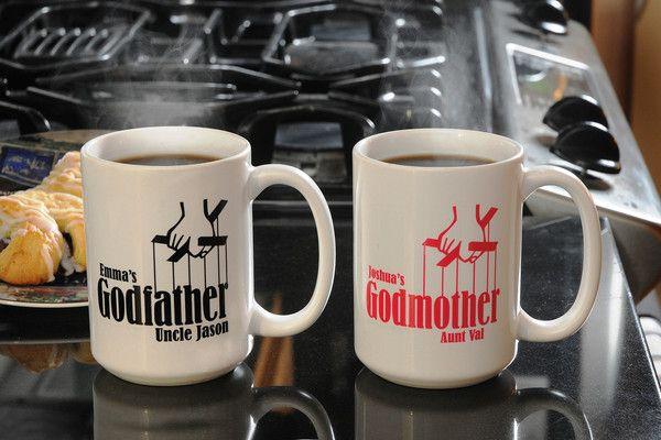 Unique Gifts for Godparents, Large Custom Ceramic Coffee Mug Set – Godparent Baptism Gifts