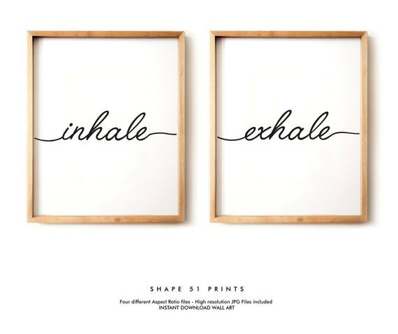 Inhale exhale, set of prints, inhale exhale poster, yoga print, pilates gift, relaxation print, inhale exhale sign, yoga poster, pilates art #inhaleexhale
