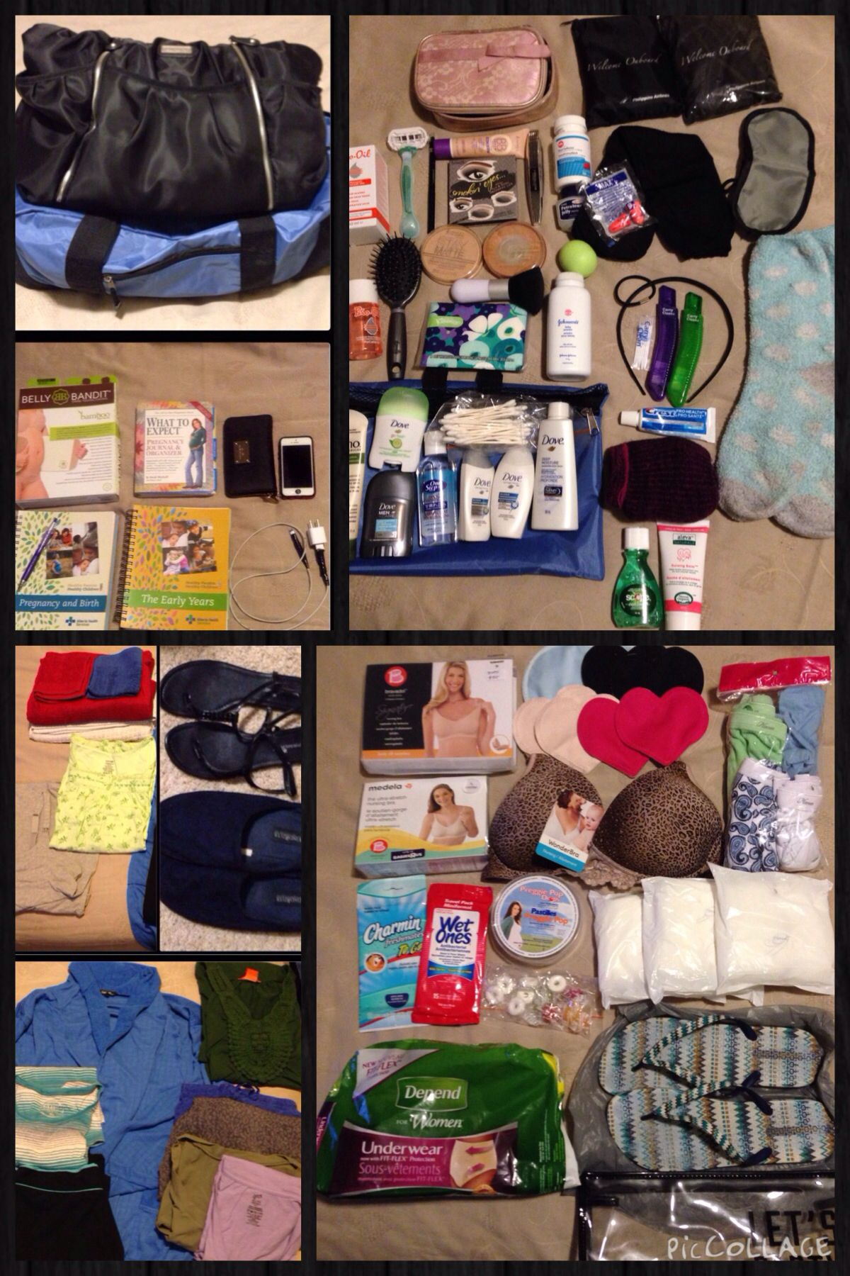 My hospital bag essentials blue duffle bag toiletries clothes babies fandeluxe Gallery