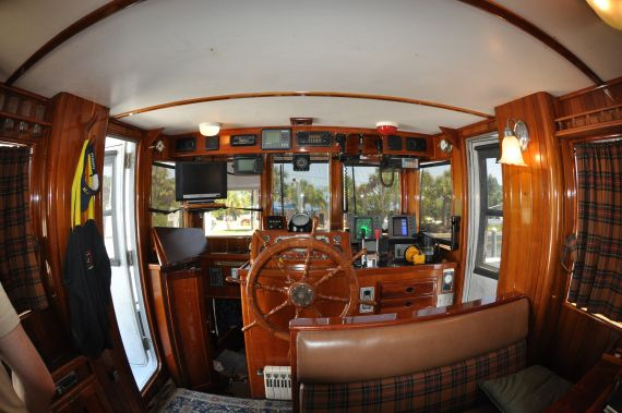 Boat Interiors | Pilothouse | Tug Boat For Sale Like The Plaid Fabric And  Persian Rug