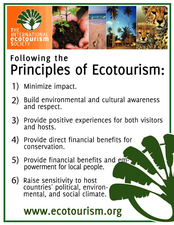 Ecotourism Principles Travel And Tourism Sustainable Tourism