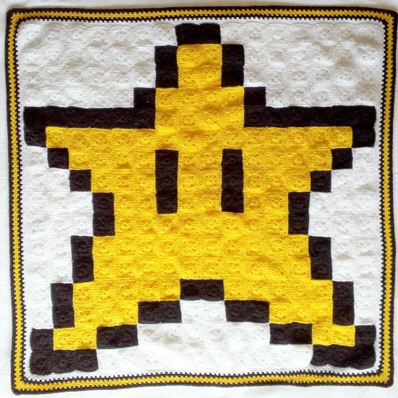 8-Bit Star Lap Crochet Blanket / Invincibility Star / Super Mario ...