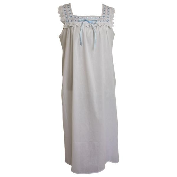 a464c64171 Beautiful sleeveless white cotton nightdress with square neckline. The  neckline is decorated with blue ribbon